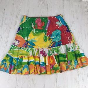 Jams World Colorful Wax Flower Ruffle Hem Skirt